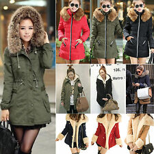 Outdoor Womens Warm Winter Hooded Parka Overcoat Faux Fur Long Thick Jacket Coat