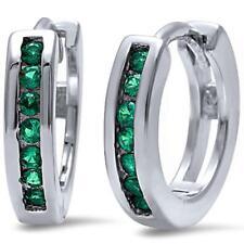 Round Green Emerald Hoop .925 Sterling Silver Earrings