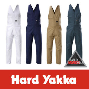 Hard Yakka Action Back Overalls Cotton Drill Tradesman Work Carpenter Y01555