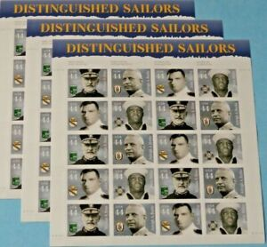 Three Sheets x 20 = 60 of DISTINGUISHED SAILORS 44¢ US USA Stamps Sc # 4440-4443
