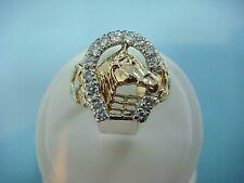 10K YELLOW GOLD  1/2 CT DIAMOND HORSESHOE MEN'S RING, 6.2 GRAMS, SIZE 9 SPECIAL!