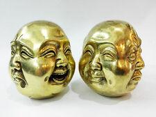 2PC ancien couleur or 4 visages Bouddha Tête statue figures 6 cm
