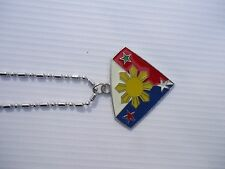 Philippine Flag Filipino 3 Stars & Sun Flag Necklace