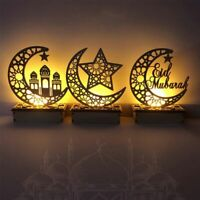 LED Wooden Eid Mubarak Plaque Moon Star Ramadan Ornament Muslim Decor Pendant