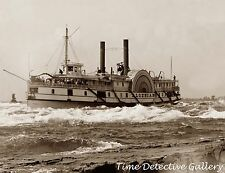 Side Wheel Riverboat Algerian, St. Lawrence Rvr Canada-1900-Historic Photo Print