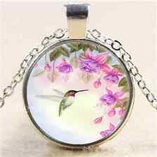 Hummingbird With Flower Cabochon Glass Tibet Silver Chain Pendant Necklace