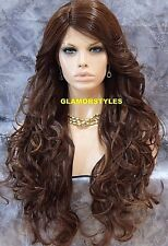 Long Layered Brown Auburn Mix Full Lace Front Wig Heat Ok Hair Piece  #4.27.30