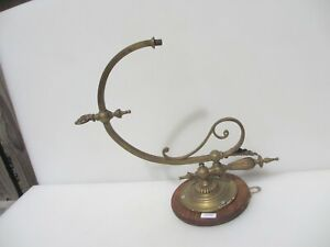 Victorian Brass Gas Wall Light Sconce Lamp Antique Old Vintage Wooden Plaque