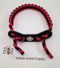 Bow Wrist Sling Red / Black Leather Yoke Paracord Archery