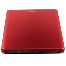 Pawtec Slim External USB 3.0 Aluminum 6X 3D Blu-Ray Combo Drive Mac PC - Red