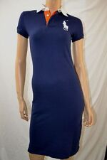 Ralph Lauren NAVY RUGBY POLO DRESS WHITE BIG PONY $198 VALUE NWT XS