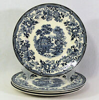 """4 TONQUIN Royal Staffordshire Dinner Plates CLARICE CLIFF Blue White Floral 10"""""""