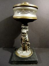 Antique Victorian Sandwich Glass Banquet Hunting Cherub & Dog Oil Lamp Atterbury