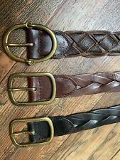 Men's Polo Ralph Lauren Brown Leather Belt Size M S DAMAGED Leather Vintage? RLL