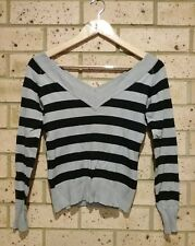 Black Grey V-neck Jumper, Long sleeve, Ladies S, Soft Acrylic