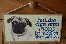 Türschild Tierschild Schild Tafel Holzschild Deko Bild Wandbild ♥ Mops Hund