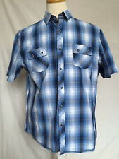 English Laundry Mens Button Up Plaid Shirt XL Blue White Black Short Sleeves