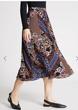 BNWT M&S Limited Edition Black Brown Blue Floral A Line Midi Skirt Size 8