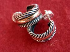David Yurman Sterling Silver 14K Gold Cable Collectibles Hoop Earrings $450