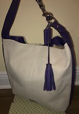 Coach Avery Tassel Canvas Purple Blue Hobo Satchel Shoulder Bag Natural Purse