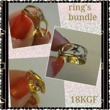 New Lot Bundle-3 Women 18K Gold Filled Rings white/yellow moon, star, cz, lilac