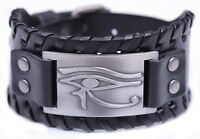 Ancient Egyptian The Eye of Horus Ra Thoth Udjat Wide Leather Bracelets for Men