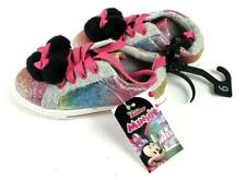 New With Tags Toddlers Girls Disney Minnie Mouse Rainbow Pom Sneakers Size 9