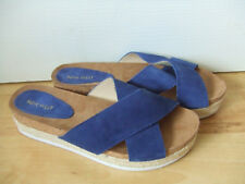 NINE WEST BLUE SUEDE SLIP ON MULES SIZE: UK 8.5 / US 10 W
