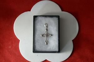 Beautiful Silver Cross With Faceted Amethyst 5.1 Gr. 5 x 3 Cm. Wide In Gift Box