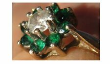 Beautiful 9Kt 9ct Gold Lab. Diamond  & Green Stone Cluster ring