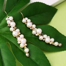 Boucles d'Oreilles Doré Grape Muget Long Perle Gris Mariage AA22