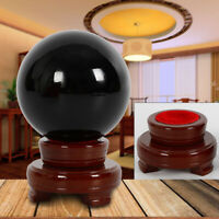 100mm Large Natural Black Obsidian Sphere Crystal Ball Healing w/Stand Base USA