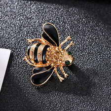 GUT Fashion Women Delicate Little Bee Crystal Rhinestone Pin Brooch Gift Black