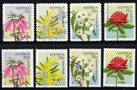 Australia 2014 Flowers  set of 8 Stamps Self Adh used off paper 12 & 15 perforat