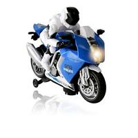 WolVol  Bump and Go Police Motorcycle 2 Wheeled Vehicle Toy w/ Music & Lights