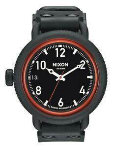 Nixon Original October Men's A488760  Black & Red Swiss Dive Rubber Strap Watch