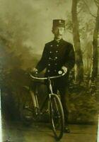 Antique Postcard Real Photo c 1910 Belgian Policeman Bicycle RPPC gendarme bike