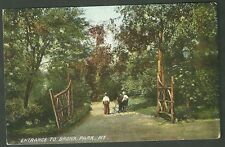 Pre 1910 unused postcard entrance to bronx park new york boys riding bikes