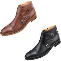 Men's Casual Boots, Dress Boots for Men, Double Monkstrap Mens Boots, Cap Toe