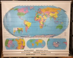 Rand McNally World, United States & Alaska Pull Down Simplified 3 Maps.