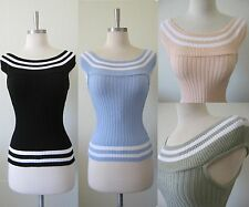 NEW Ribbed Stretch Stripe Knit Top S M