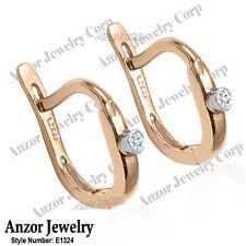 Russian style Genuine Diamond Children Earrings Solid 14k Rose & White Gold.