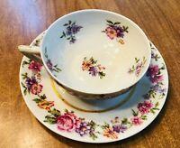 Vintage Limoges Hand painted Multi Floral Gold Gilt Tea Cup Saucer FRANCE, MINT