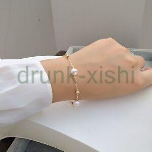 "7.5-8"" Natural Akoya White Pearl Elegant Bracelets 14k Gokd pClasp"