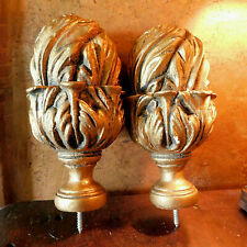 Pair Decorative Drapery Curtain Rod Finials End Caps Ornate Gold Painted