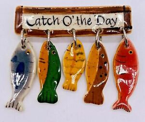 Handmade Ceramic CATCH O' THE DAY Brooch Pin String of Fish Jewelry Hand Painted