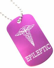 Epileptic SOS Medical Alert ID Purple Tag + Steel Chain (P7)