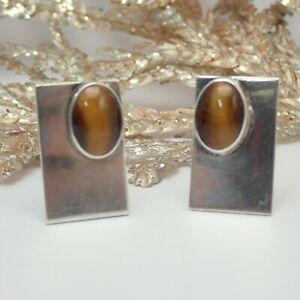 Vintage Pat 2472958 Tigers Eye Sterling Silver Cuff Links Weights 16.8 gr