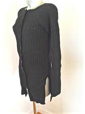 M & F GIRBAUD cravatatakiller gilet long en laine noire hiver taille 40 fr i44