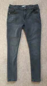 WOMENS JEANS Charcoal Black Dorothy Perkins UK Size 14S Skinny Fit